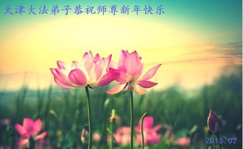 Falun Dafa-Praktizierende aus der Stadt Tianjin wünschen dem ...